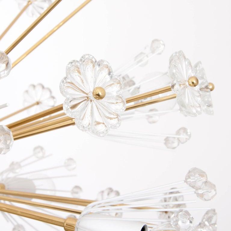 Three Identical Emil Stejnar Blowball Sputnik Brass Chandeliers by Rupert Nikoll 5