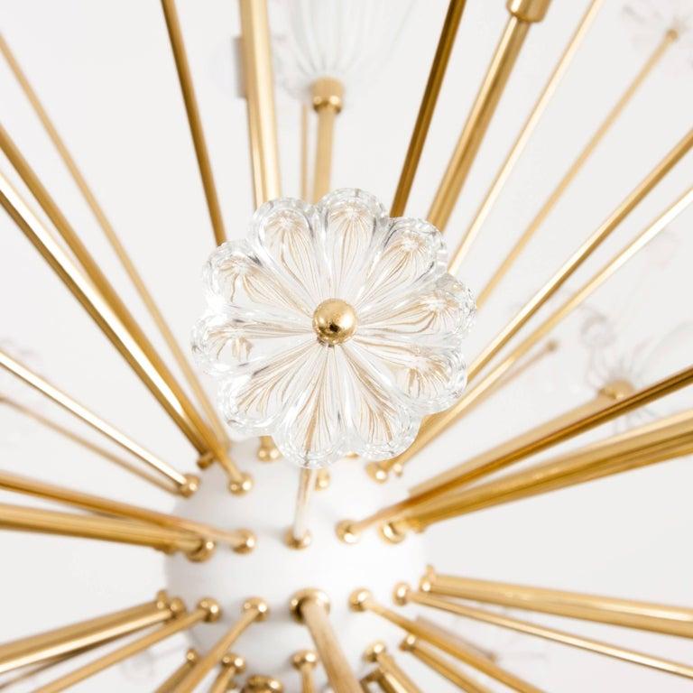 Three Identical Emil Stejnar Blowball Sputnik Brass Chandeliers by Rupert Nikoll 4