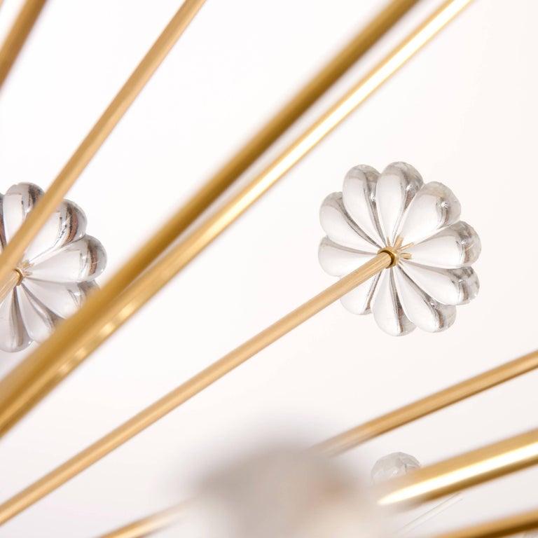 Three Identical Emil Stejnar Blowball Sputnik Brass Chandeliers by Rupert Nikoll 7