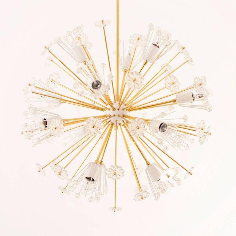 Three Identical Emil Stejnar Blowball Sputnik Brass Chandeliers by Rupert Nikoll 10