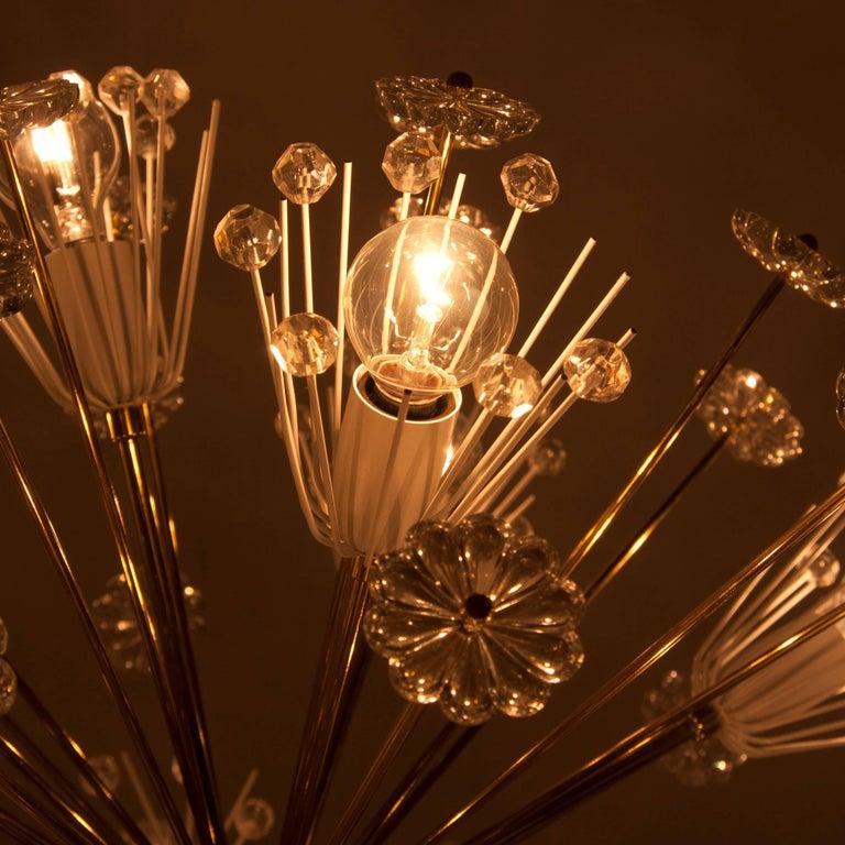 Three Identical Emil Stejnar Blowball Sputnik Brass Chandeliers by Rupert Nikoll 8