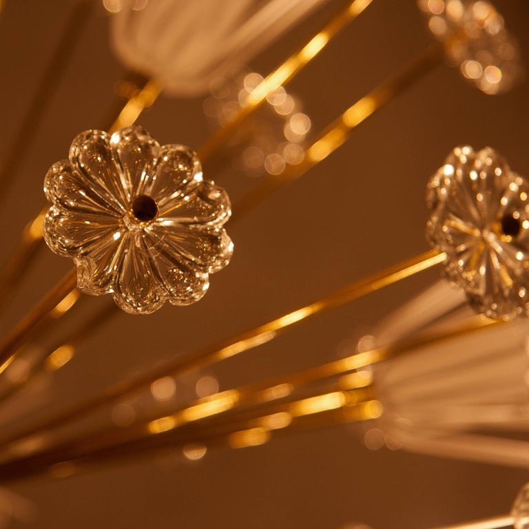 Three Identical Emil Stejnar Blowball Sputnik Brass Chandeliers by Rupert Nikoll 9