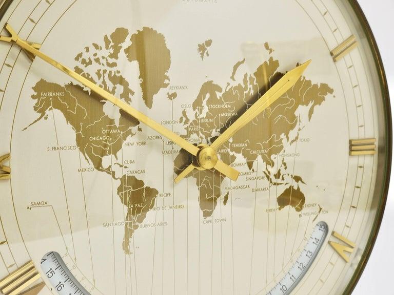Large midcentury kienzle gmt world time zone brass table clock mid century modern large midcentury kienzle gmt world time zone brass table clock germany gumiabroncs Choice Image