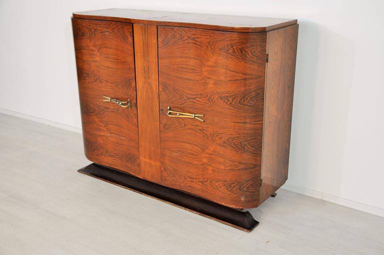 1920s art deco palisander commode with brass handles at for Commode miroir art deco