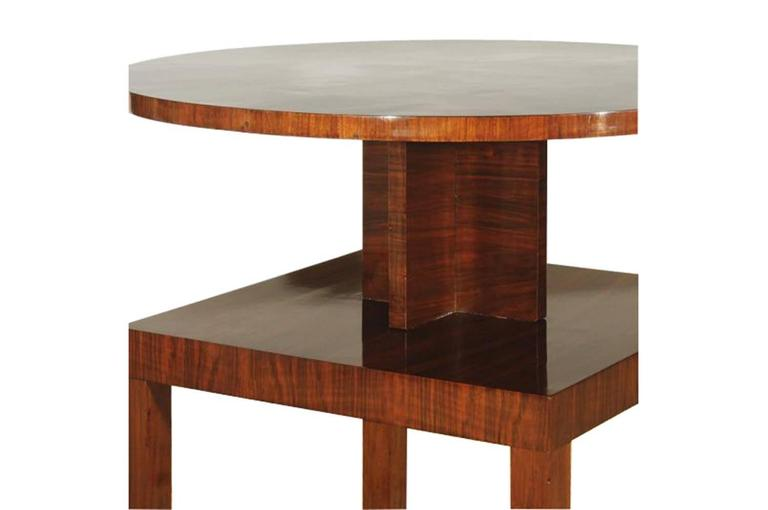 Vintage Art Deco Side Table Made Of Mahogany And Walnut 2