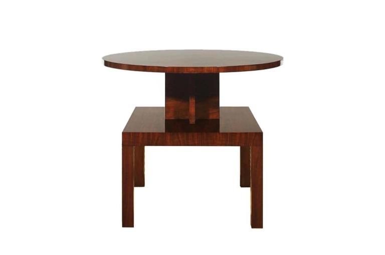 Vintage Art Deco Side Table Made Of Mahogany And Walnut 3
