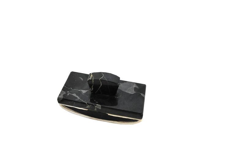 Schreibtisch-Set aus dunklem Marmor, Art-Déco 3