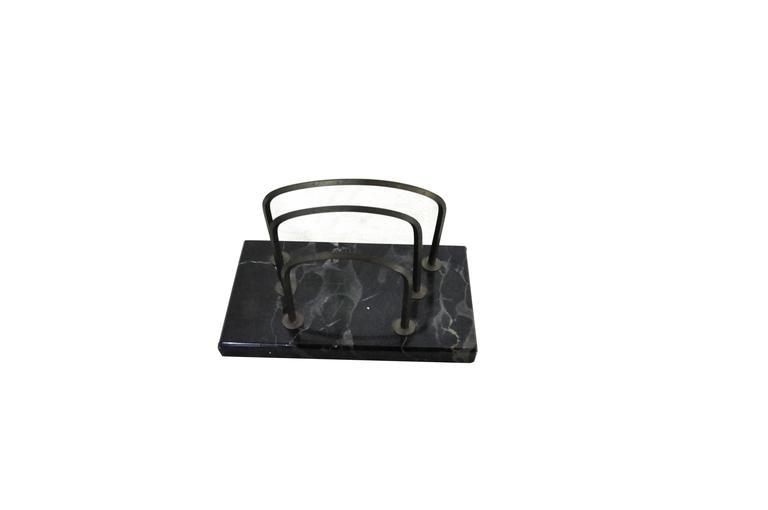 Schreibtisch-Set aus dunklem Marmor, Art-Déco 4