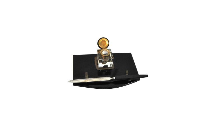 Schreibtisch-Set aus schwarzem Marmor und Messing, Art-Déco, 1920er Jahre 3
