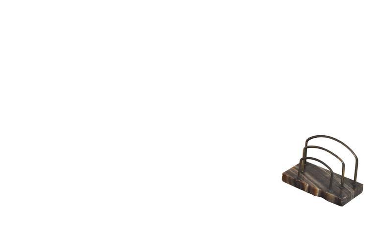 Vintage-Schreibtischset aus rotem und braunem Marmor 3