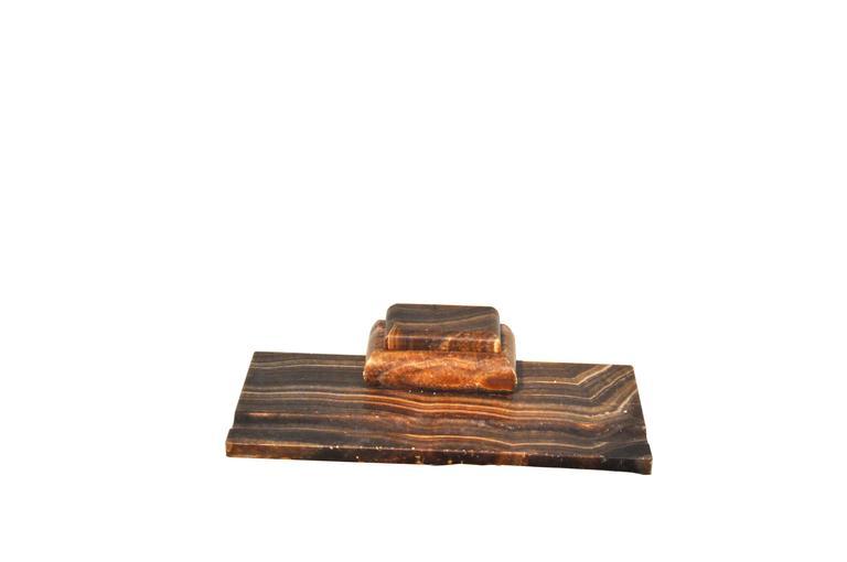 Vintage-Schreibtischset aus rotem und braunem Marmor 2