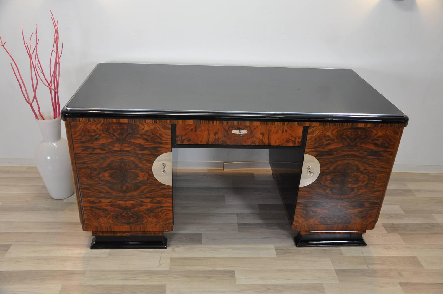 Two Sided Art Deco Desk with Burl Wood Doors For Sale at