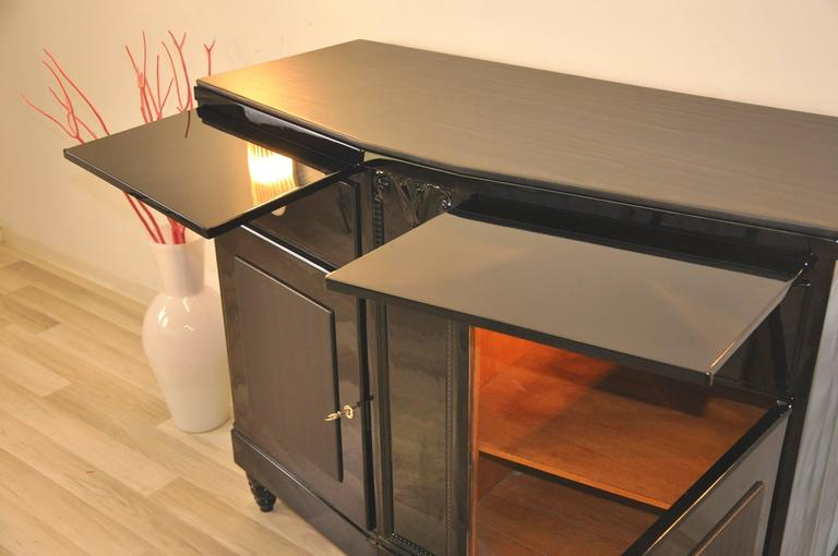 Black Art Deco Commode with Leather Details In Excellent Condition For Sale In Senden, NRW