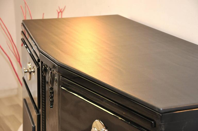 Mid-20th Century Black Art Deco Commode with Leather Details For Sale