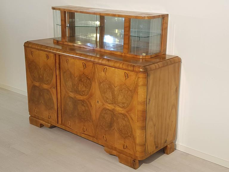 Art deco sideboard with vitrine for sale at 1stdibs for Sideboard vitrine