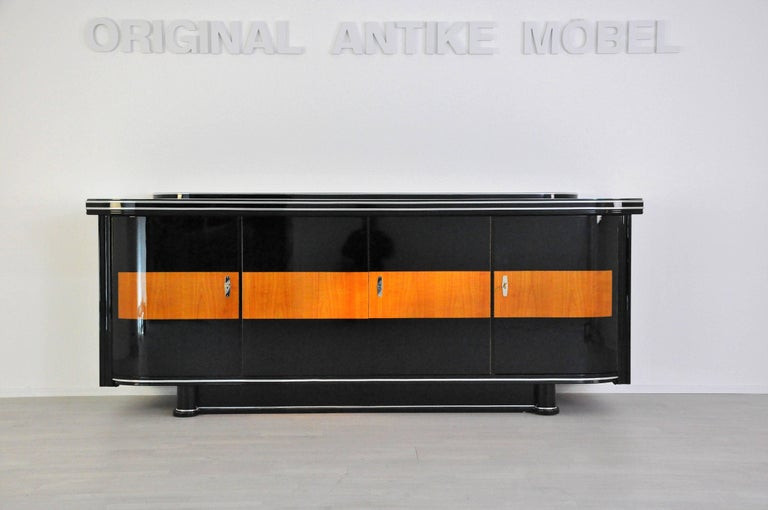 French Art Deco Sideboard with Maple Application Chrome Details For Sale