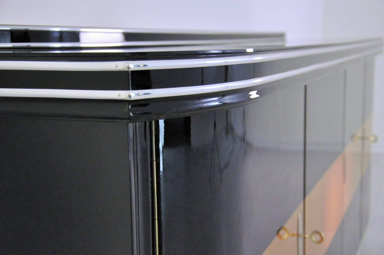 Art Deco Sideboard with Maple Application Chrome Details For Sale 3