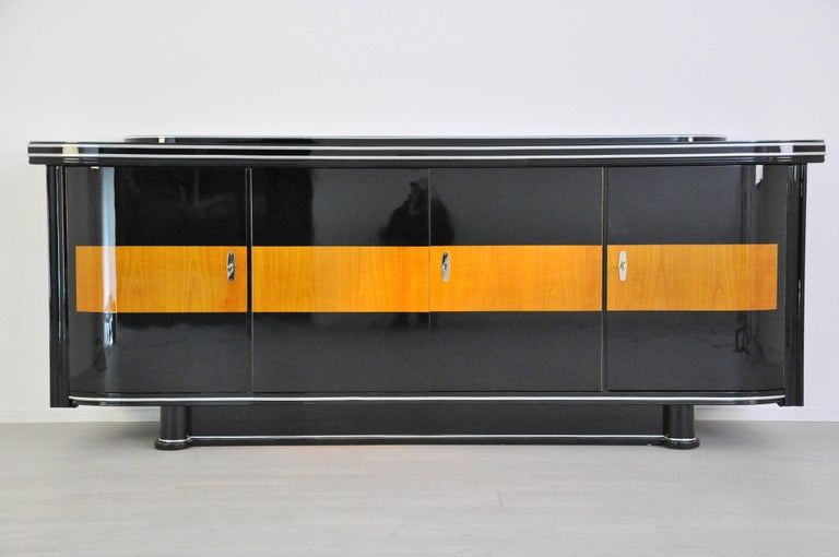 Polished Art Deco Sideboard with Maple Application Chrome Details For Sale