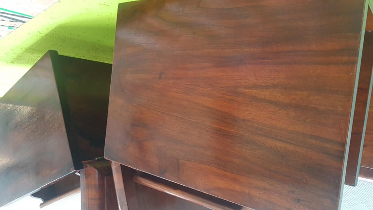 Mid-20th Century Pair of Walnut Art Deco Nightstands from Sweden, 1930s For Sale