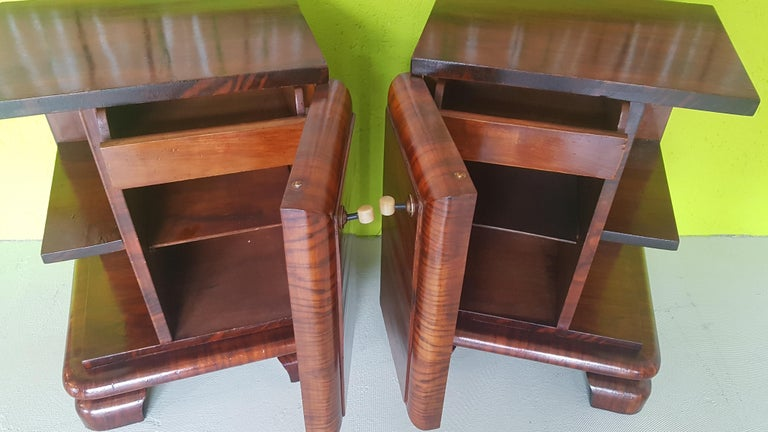 Hand-Crafted Pair of Walnut Art Deco Nightstands from Sweden, 1930s For Sale