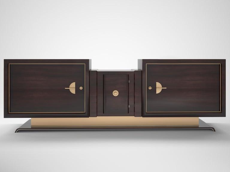 German Custom Art Deco Design Walnut and Brass Sideboard For Sale