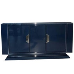 Large Art Deco Sideboard in Sapphire Blue