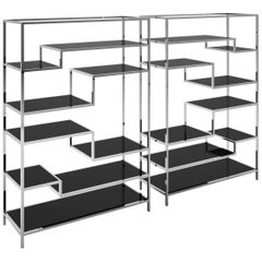 Cut Glass and Chrome Design Shelve