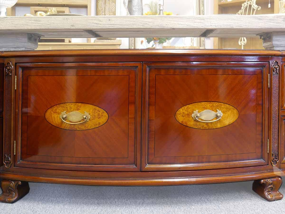 Polished TV Lowboard Cabinet Sideboard In Antique Style With Precious  Inlays For Sale