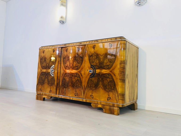 French 1920s Burl Art Deco Sideboard from France For Sale