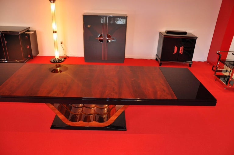1930s French Art Deco Style Dining Table, Mahogany Veneer 5