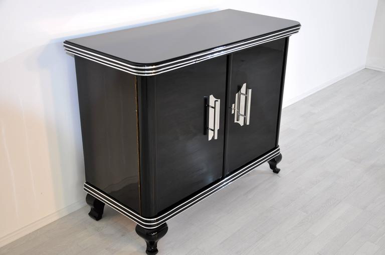 Early 20th Century Black Art Deco Commode with Big Chrome Handles For Sale