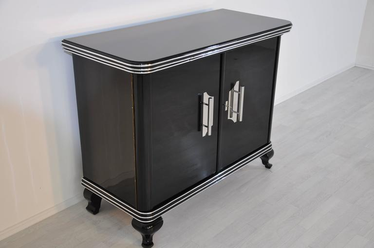 Black Art Deco Commode with Big Chrome Handles In Excellent Condition For Sale In Senden, NRW