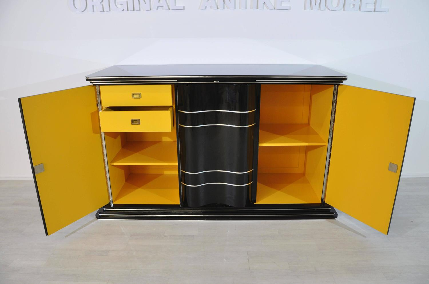 Art Deco Sideboard With Bright Yellow Interior For Sale At