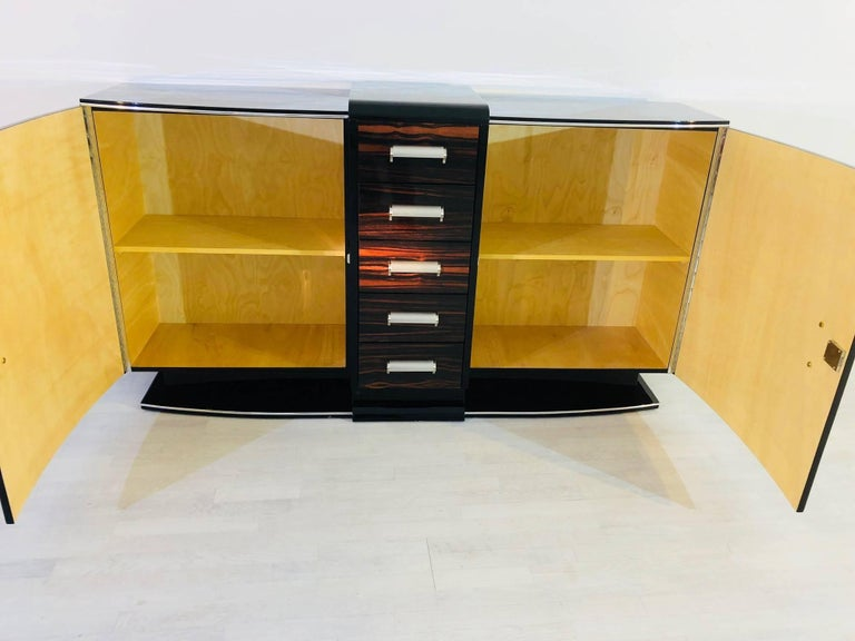 Brass Curved Art Deco Style Sideboard with Macassar and Chrome Details For Sale