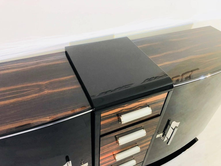 Curved Art Deco Style Sideboard with Macassar and Chrome Details For Sale 2