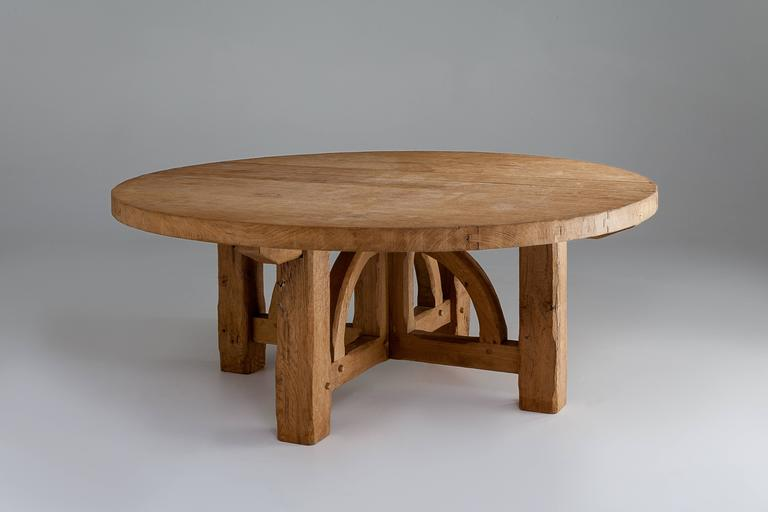 European Bespoke French Oak Pugin Table For Sale