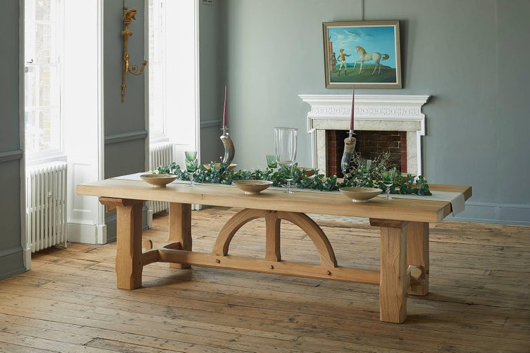 Contemporary Bespoke French Oak Pugin Table For Sale