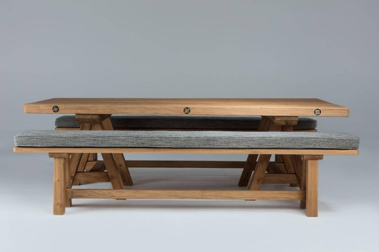 Rectangular, with two trestle supports; matching benches available also.