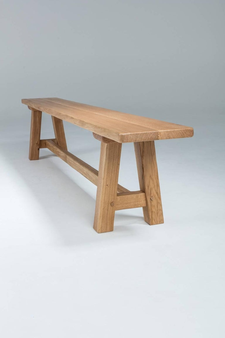 Contemporary Bespoke French Oak Trestle Table For Sale
