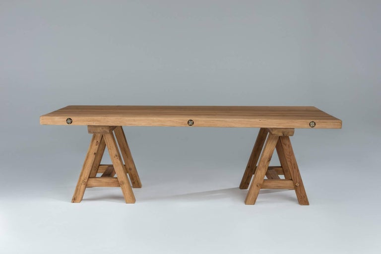 Bespoke French Oak Trestle Table For Sale 1