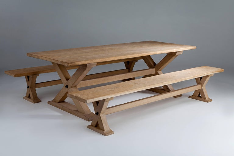 Arts and Crafts Bespoke French Oak X-Frame Table For Sale