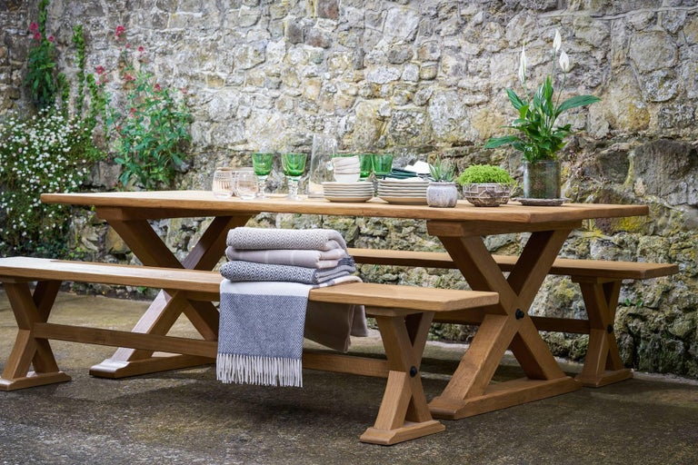 Carved Bespoke French Oak X-Frame Table For Sale