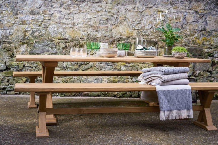 Bespoke French Oak X-Frame Table In Excellent Condition For Sale In Petworth, West Sussex