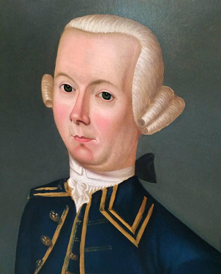 Folk Art American Period Portrait Painting of a Colonial Gentleman