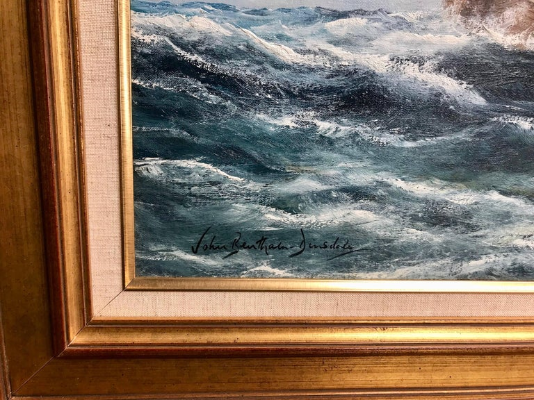 """Signed lower left. (Born in Yorkshire, England in 1927; died in 2008). Dinsdale painted the sea and great ships of the era when """"Britannia ruled the waves"""" with her fleets of clipper and fighting ships whose huge white sails took men across the seas"""