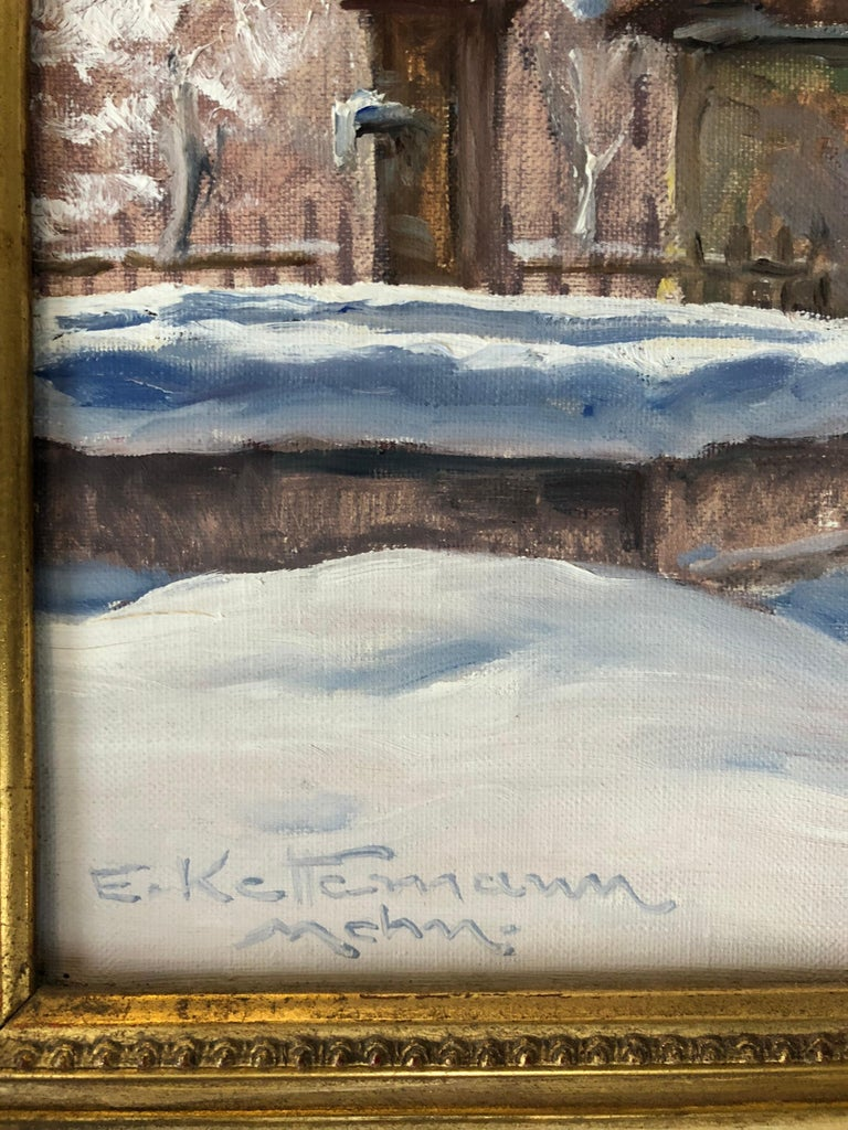 """Oil on canvas, signed lower left. Erwin Kettemann (1897–1971) was a landscape painter from Munich. He was a representative of late Impressionism as well as the 19th century """"Karlsruher Schule"""". In the style of the Karlruhe Schule, a close study and"""