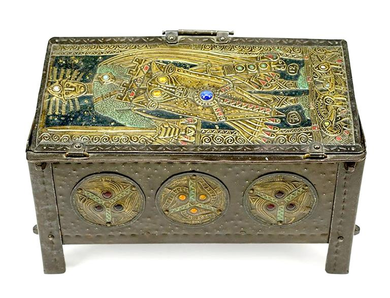 Metal repousse with glass cabochons,  Alfred-Louis-Achille Daguet was a metalsmith who specialized in repoussé copper panels made for application to hinged boxes, mantel clocks, picture frames, album covers, and elements of desk sets. His