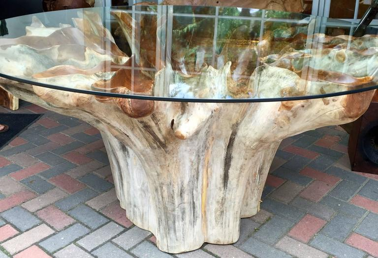 Ancient Teak Root Ball Form Dining Table At 1stdibs