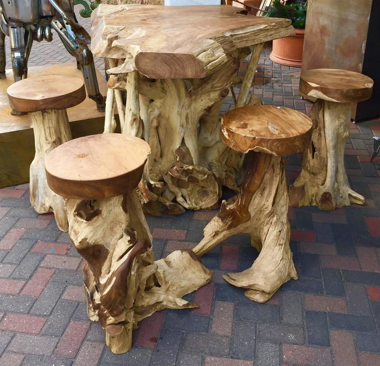 Very Unique High Table And Stools Made From Ancient Teak
