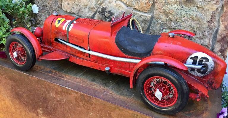 "Folk Art Large Painted Sculpture ""1933 Scuderia Ferrari Monza"" Alfa Romeo Paul Jacobsen For Sale"